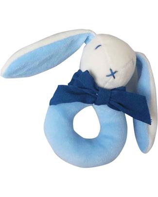 Maud N Lil Sonaglio ad Anello - Coniglietto Blu - 100% Cotone Bio Sonagli