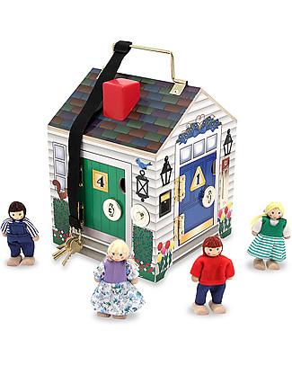 Melissa & Doug Doorbell House, Casa in Legno - Include 4 personaggi e chiavi funzionanti! Figurine e Set da Gioco