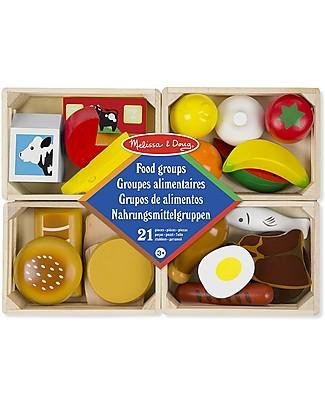 Melissa & Doug Food Groups, Cassettine di Cibi in Legno - Set da 21 pezzi! Cucine Giocattolo e Cibo Finto