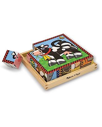 Melissa & Doug Puzzle con Cubi Fattoria - 16 Cubi in Legno Puzzle