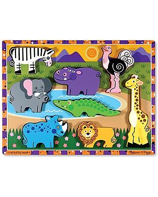 Melissa & Doug Puzzle in Legno Animali da Safari - 8 pezzi grandi Incastri In Legno
