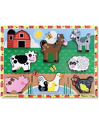 Melissa & Doug Puzzle in Legno Fattoria - 8 pezzi grandi Incastri In Legno