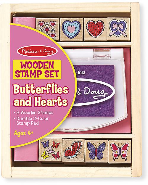 Melissa & Doug Set di 8 Timbri in Legno - Farfalle e cuoricini Giochi Creativi