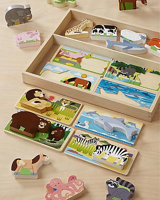 Melissa & Doug Tavola Gioco Animali - 8 Tavole Doppie e 16 Animali in Legno! Puzzle