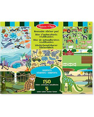 Melissa & Doug Album di Figurine Riutilizzabili, Regno Animale – Con oltre 150 adesivi! Giochi Creativi
