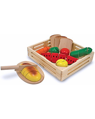 Melissa & Doug Alimenti da tagliare - Set in legno - 24 pezzi  Cucine Giocattolo e Cibo Finto