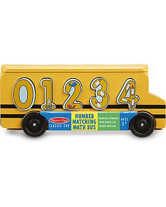 Melissa & Doug Bus dei Numeri in Legno - Per imparare divertendosi! Macchine e Trenini  in Legno