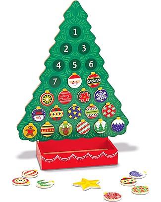 Melissa & Doug Calendario dell'Avvento in Legno - 24 Decorazioni Magnetiche - Ottima Idea Regalo! Calendari Dell'Avvento