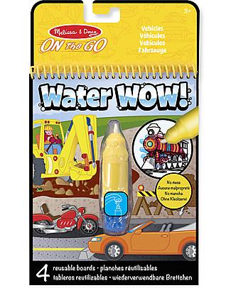 Melissa & Doug Cartoncini Magici da Colorare – Mezzi di Trasporto - 4 cartoncini con penna ad acqua ricaricabile! Giochi Creativi