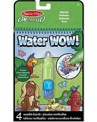 Melissa & Doug Cartoncini Magici da Colorare - Animali - 4 cartoncini con penna ad acqua ricaricabile! Giochi Creativi