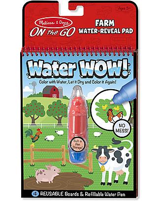 Melissa & Doug Cartoncini Magici da Colorare, Fattoria - 4 cartoncini con penna ad acqua ricaricabile! Colorare