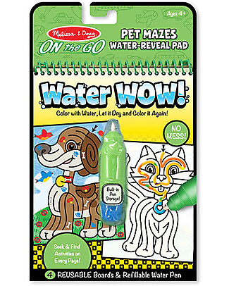 Melissa & Doug Cartoncini Magici da Colorare Fiaba, Labirinto degli Animali - 4 cartoncini con penna ad acqua ricaricabile! Colorare