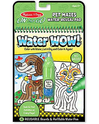 Melissa & Doug Cartoncini Magici da Colorare, Labirinto degli Animali - 4 cartoncini con penna ad acqua ricaricabile! Colorare