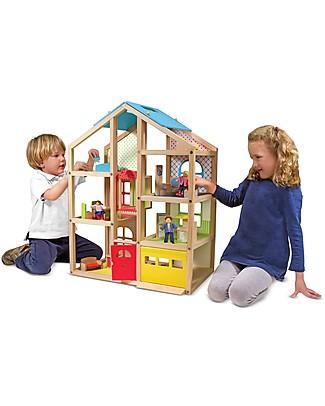 Melissa & Doug Casa delle Bambole in Legno - 76 cm - Comprende 15 pezzi d'arredamento e 3 bamboline! Giochi Per Inventare Storie