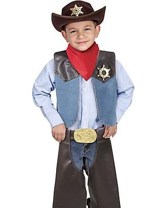 Melissa & Doug Costume da Cowboy - Perfetto per Carnevale e Feste in Maschera - Cappello, Bandana e Badge Inclusi! Travestimenti
