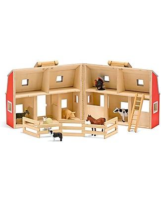 Melissa & Doug Fattoria in Legno Trasportabile Fold & Go - Animali Inclusi! Construzioni In Legno