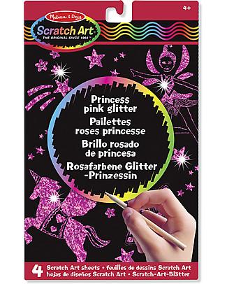 Melissa & Doug Fogli Scratch Art con Glitter da Grattare - Rosa Principessa - 4 Fogli Colorare
