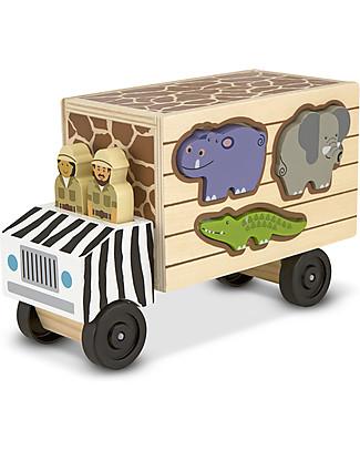 Melissa & Doug Furgoncino in legno Protezione Animali - 10 Pezzi Macchine e Trenini  in Legno