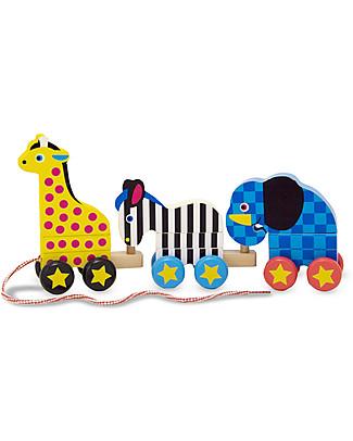Melissa & Doug Giocattolo in Legno da Tirare - Animali Zoo, Perfetta idea regalo! Giochi da Tirare e Spingere