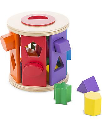Melissa & Doug Match & Roll, Formine in Legno da incastrare – Ideale per imparare forme e colori! Puzzle