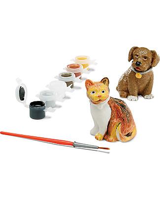 Melissa & Doug   Mini Animali da Compagnia da Dipingere - Cane e gatto più colori e pennello! Kit Fai Da Te