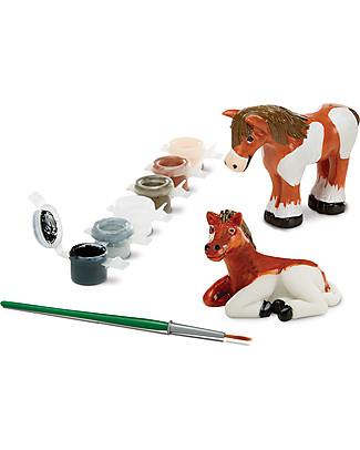 Melissa & Doug Mini Cavalli da Dipingere - Con due cavalli, colori e pennello! Kit Fai Da Te