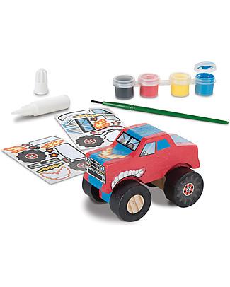 Melissa & Doug   Monster Truck in Legno da Assemblare e Dipingere - Con sticker e colori inclusi! Kit Fai Da Te