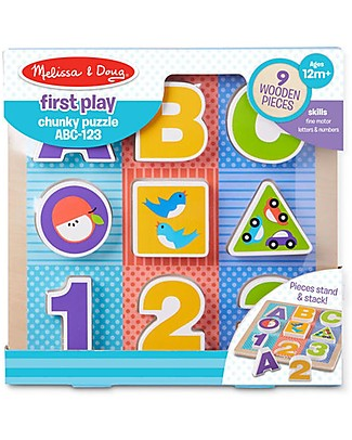 Melissa & Doug Puzzle ABC-123 - Legno - First play Incastri In Legno