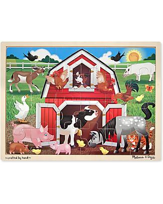 Melissa & Doug Puzzle Animali della Fattoria - Legno - 24 Pezzi Puzzle