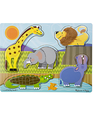 Melissa & Doug Puzzle Animali Touch & Feel, Safari - 5 animali  Puzzle