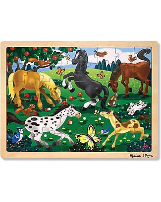 Melissa & Doug Puzzle Cavalli Giocherelloni - Legno - 48 Pezzi Puzzle