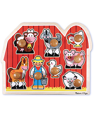 Melissa & Doug Puzzle con Manopoline Grandi - Amici della Fattoria - 8 Pezzi Puzzle