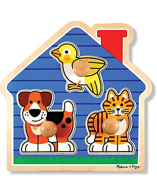 Melissa & Doug Puzzle con Manopoline Grandi - Animali Domestici - 3 Pezzi Puzzle