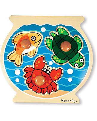 Melissa & Doug Puzzle con Manopoline Grandi - Boccia dei Pesci - 3 Pezzi Puzzle