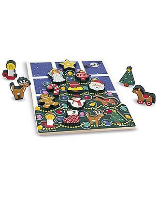 Melissa & Doug Puzzle in Legno, 13 pezzi grandi - Albero di Natale - Ottima Idea Regalo! Puzzle