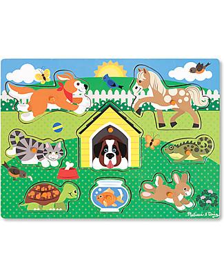 Melissa & Doug Puzzle in Legno con Pioli, Animali – 8 pezzi! Puzzle