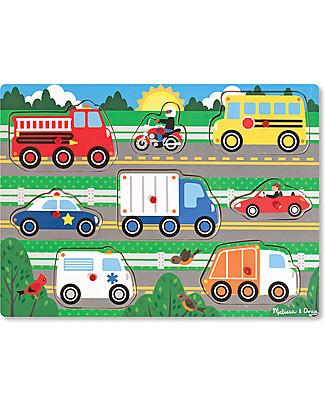 Melissa & Doug Puzzle in Legno con Pioli, Mezzi di Trasporto – 8 pezzi! Puzzle