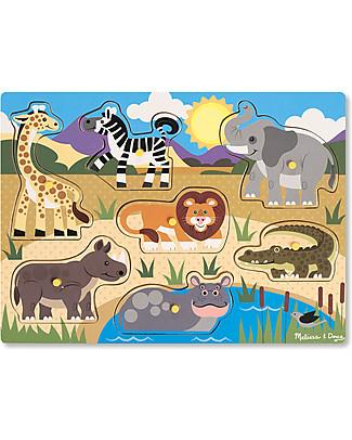 Melissa & Doug Puzzle in Legno con Pioli, Safari - 7 pezzi! Puzzle
