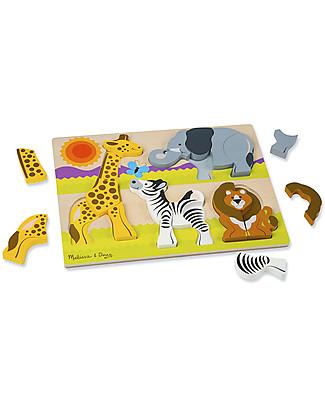 Melissa & Doug Puzzle in Legno Pezzi Grandi, Safari – 20 pezzi Puzzle