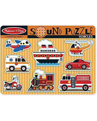 Melissa & Doug Puzzle Musicale in Legno - Mezzi di Trasporto Puzzle