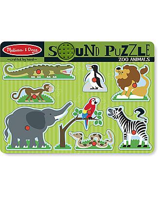 Melissa & Doug Puzzle Sonoro Animali dello Zoo - 8 Pezzi Puzzle