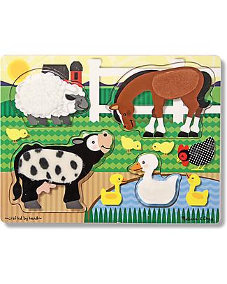 Melissa & Doug Puzzle Tattile Animali della Fattoria, 4 Pezzi - Ottima idea regalo! Puzzle