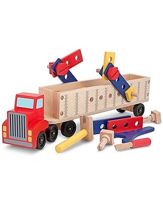 Melissa & Doug Set Camion e Costruzioni in Legno - Camion + 22 attrezzi da costruzione! Construzioni In Legno