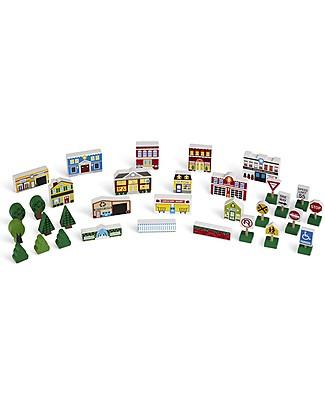 Melissa & Doug Set Città in Legno, 32 pezzi con scatola - Ottima Idea Regalo! Macchine e Trenini  in Legno