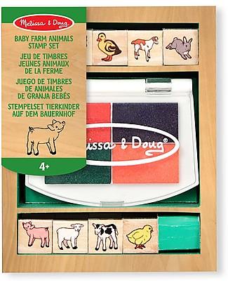 Melissa & Doug Set di 8 Timbri in Legno - Cuccioli della fattoria Adesivi e Timbri
