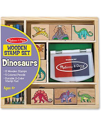 Melissa & Doug Set di 8 Timbri in Legno - Dinosauri Adesivi e Timbri