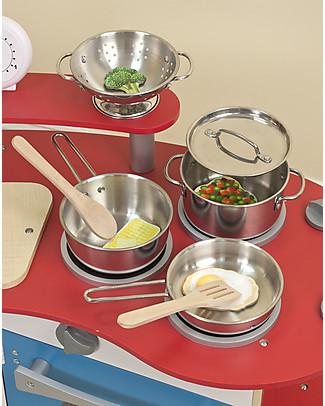 Melissa & Doug Set di Pentole Giocattolo - Acciaio Inox - 8 Pezzi Toy Kitchens & Play Food