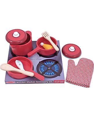 Melissa & Doug Set di Pentole Giocattolo - Legno - 8 Pezzi Toy Kitchens & Play Food