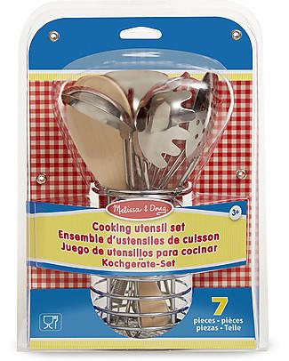 Melissa & Doug Set di Utensili da Cucina Giocattolo - Acciaio Inox - 7 Pezzi Toy Kitchens & Play Food