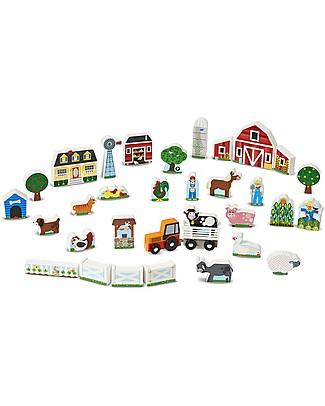 Melissa & Doug Set Fattoria con Trattore in Legno, 33 pezzi con scatola - Ottima Idea Regalo! Macchine e Trenini  in Legno